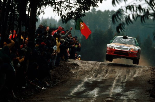 2001 World Rally Championship.   TAP Rally of Portugal. 8th - 11th March 2001. Rd 3. Alister McRae flies high in the Hyundai Accent. World Copyright: McKlein/ LAT Photographic. Ref: Alister_McRae_Action