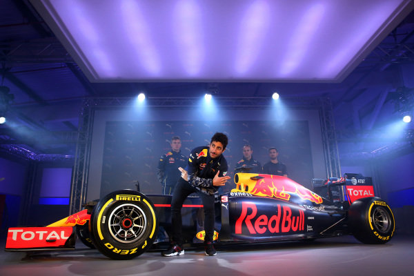 Daniel Ricciardo (AUS) Red Bull Racing at PUMA and Red Bull Racing Launch 2016 Livery and Teamwear, Brick Lane, London, England, 17 February 2016.