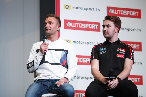 BTCC drivers Colin Turkington and Tom Ingram are interviewed on the Autosport stage