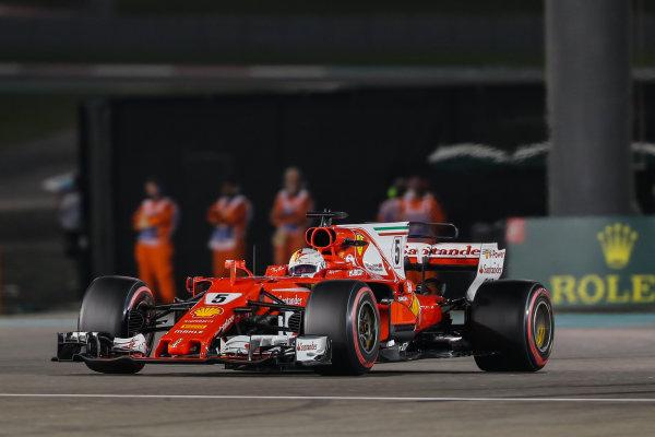Sebastian Vettel (GER) Ferrari SF70-H at Formula One World Championship, Rd20, Abu Dhabi Grand Prix, Race, Yas Marina Circuit, Abu Dhabi, UAE, Sunday 26 November 2017.