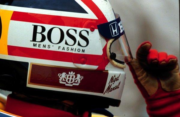 1987 British Grand Prix.Silverstone, England.10-12 July 1987.Nigel Mansell (Williams Honda) 1st position.World Copyright - LAT Photographic