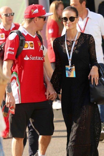Kimi Raikkonen (FIN) Ferrari with his wife Minttu Virtanen (FIN) at Formula One World Championship, Rd13, Belgian Grand Prix, Qualifying, Spa Francorchamps, Belgium, Saturday 27 August 2016.