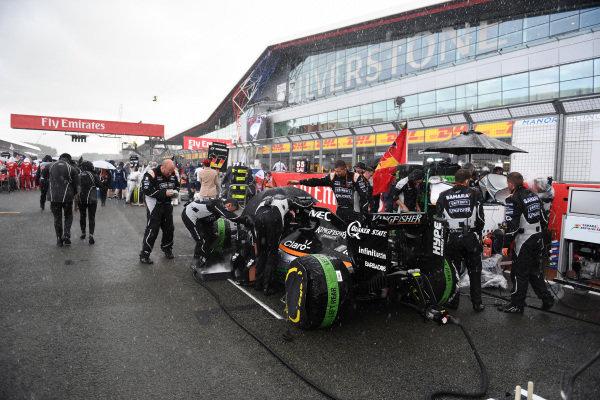 Nico Hulkenberg (GER) Force India VJM09 on the grid at Formula One World Championship, Rd10, British Grand Prix, Race, Silverstone, England, Sunday 10 July 2016.