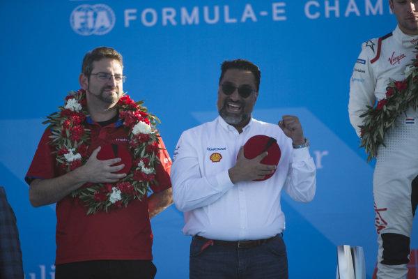 Dilbagh Gill, CEO and Team Principal, Mahindra Racing, on the podium