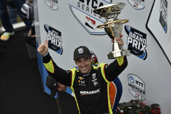 Simon Pagenaud, Team Penske Chevrolet celebrates the win in victory lane