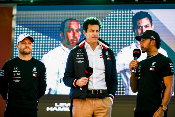 Valtteri Bottas, Mercedes AMG F1 W10, Toto Wolff, Executive Director (Business), Mercedes AMG and Lewis Hamilton, Mercedes AMG F1. on stage at the Federation Square event