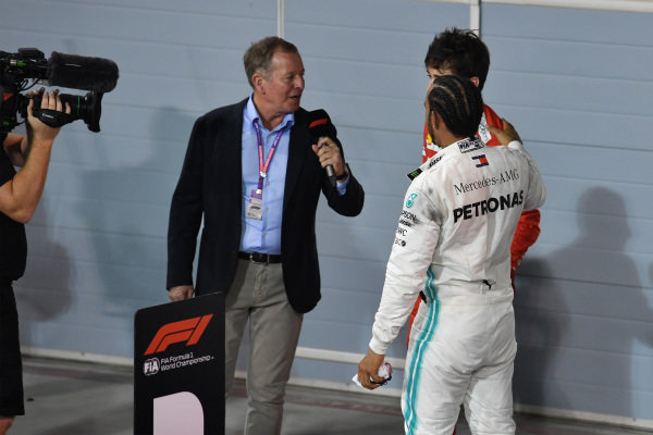 Martin Brundle interviews Lewis Hamilton, Mercedes AMG F1, 1st position, and Charles Leclerc, Ferrari, 3rd position, after the race
