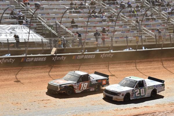 #20: Spencer Boyd, Young's Motorsports, Chevrolet Silverado EcoTwist, #18: Chandler Smith, Kyle Busch Motorsports, Toyota Tundra JBL