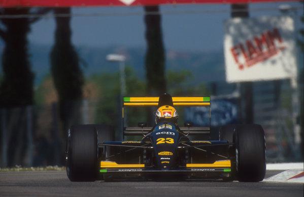 1991 San Marino Grand Prix.Imola, Italy.26-28 April 1991.Pierluigi Martini (Minardi M191 Ferrari) 4th position.Ref-91 SM 07.World Copyright - LAT Photographic