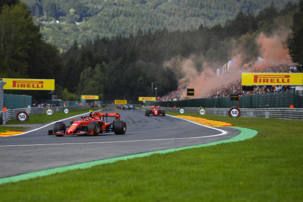 Charles Leclerc, Ferrari SF90, leads Sebastian Vettel, Ferrari SF90, on the formation lap