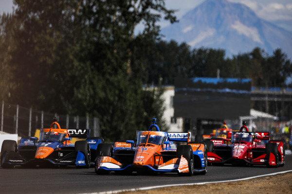 #9: Scott Dixon, Chip Ganassi Racing Honda, #7: Felix Rosenqvist, Arrow McLaren SP Chevrolet, #15: Graham Rahal, Rahal Letterman Lanigan Racing Honda