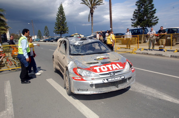 World Rally Championship, Cyprus Rally, April 18-21, 2002.Harri Rovanpera arrives at the regroup after a roll on Stage 11, Leg 2.Photo: Ralph Hardwick/LAT