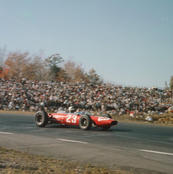 Watkins Glen, New York, USA.4-6 October 1963.John Surtees (Ferrari Dino 156).Ref-3/2969.World Copyright - LAT Photographic