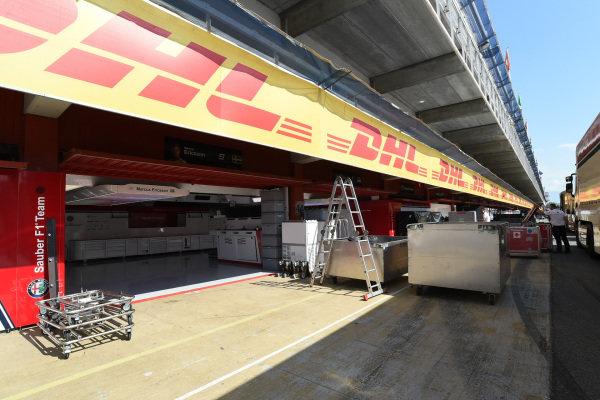 Alfa Romeo Sauber F1 Team garage and freight
