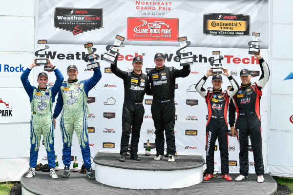 IMSA Continental Tire SportsCar Challenge Lime Rock Park 120 Lime Rock Park, Lakeville, CT USA Saturday 22 July 2017  27, Mazda, Mazda MX-5, ST, Britt Casey Jr, Matt Fassnacht, 25, Mazda, Mazda MX-5, ST, Chad McCumbee, Stevan McAleer, 84, BMW, BMW 328i, ST, James Clay, Tyler Cooke World Copyright: Richard Dole LAT Images ref: Digital Image RD_LRP_17_01181
