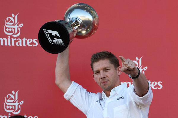 Suzuka Circuit, Japan. Sunday 8 October 2017. James Vowles, Chief Strategist, Mercedes AMG, receives the constructors trophy for Mercedes. World Copyright: Steve Etherington/LAT Images  ref: Digital Image SNE14920