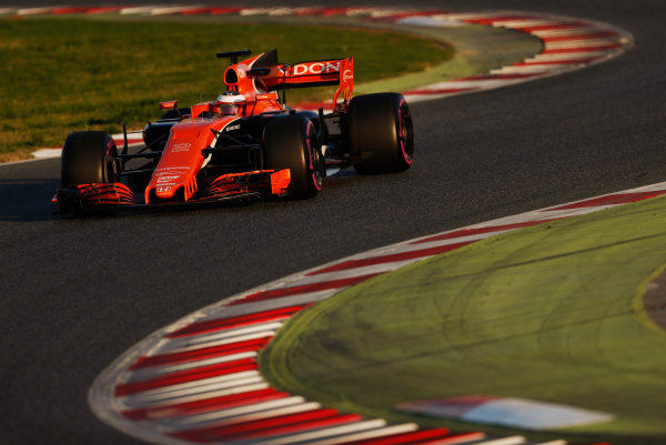 Circuit de Barcelona Catalunya, Barcelona, Spain. Thursday 02 March 2017. Stoffel Vandoorne, McLaren MCL32 Honda. World Copyright: Glenn Dunbar/LAT Images ref: Digital Image _X4I3341