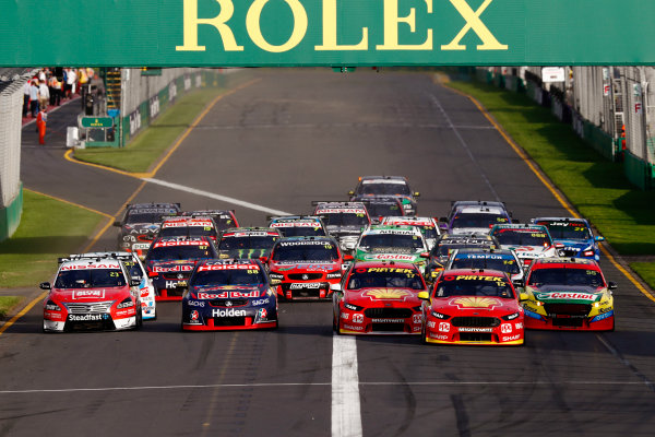 Australian Supercars Series Albert Park, Melbourne, Australia. Friday 24 March 2017. Race 2. Fabian Coulthard, No.12 Ford Falcon FG-X, Shell V-Power Racing Team, leads Scott McLaughlin, No.17 Ford Falcon FG-X, Shell V-Power Racing Team, Jamie Whincup, No.88 Holden Commodore VF, Red Bull Holden Racing Team, Chaz Mostert, No.55 Ford Falcon FG-X, Supercheap Auto Racing, Michael Caruso, No.23 Nissan Altima, Nissan Motorsport and Team Harvey Norman, and the rest of the field at the start. World Copyright: Zak Mauger/LAT Images ref: Digital Image _56I5808