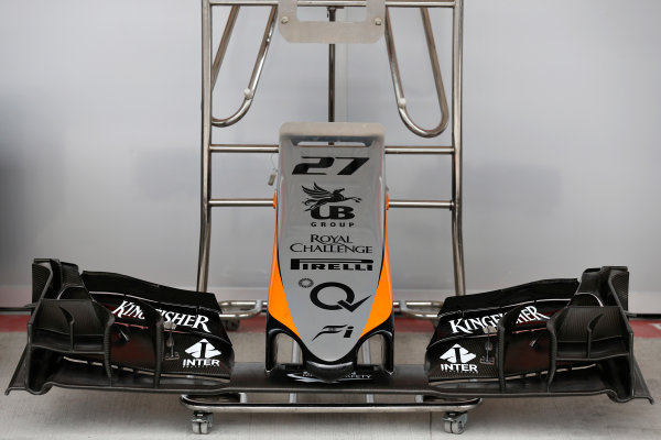 Autodromo Hermanos Rodriguez, Mexico City, Mexico. Thursday 29 October 2015. New Force India nose and front wing. World Copyright: Alastair Staley/LAT Photographic ref: Digital Image _79P5219