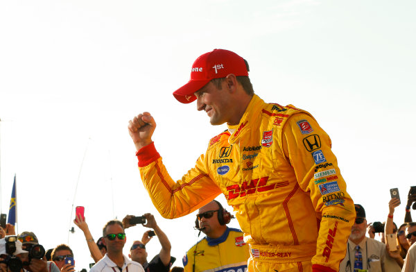 22-23 August, 2015, Pocono, Pennsylvania, USA Winner Ryan Hunter-Reay celebrates in victory lane ? 2015, Russ Labounty LAT Photo USA
