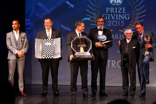 2015 FIA Prize Giving Paris, France Friday 4th December 2015 Lewis Hamilton and FOM trophies, portrait  Photo: Copyright Free FOR EDITORIAL USE ONLY. Mandatory Credit: FIA / Jean Michel Le Meur  / DPPI ref: _GO_0181