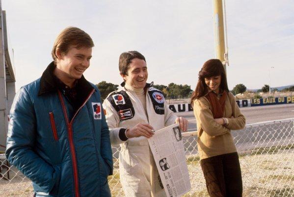 L-R: Tyrrell teammates Didier Pironi (FRA) and Patrick Depailler (FRA). Formula One Testing, Circuit Paul Ricard, France,  c. November 1977.