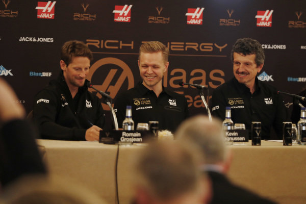 Romain Grosjean, Haas F1 Team, Kevin Magnussen, Haas F1 Team and Guenther Steiner, Team Principal, Haas F1 in Press Conference