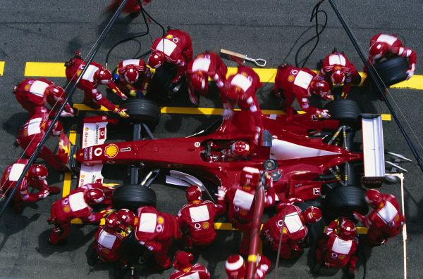 Michael Schumacher, Ferrari F2003-GA, during a pitstop.