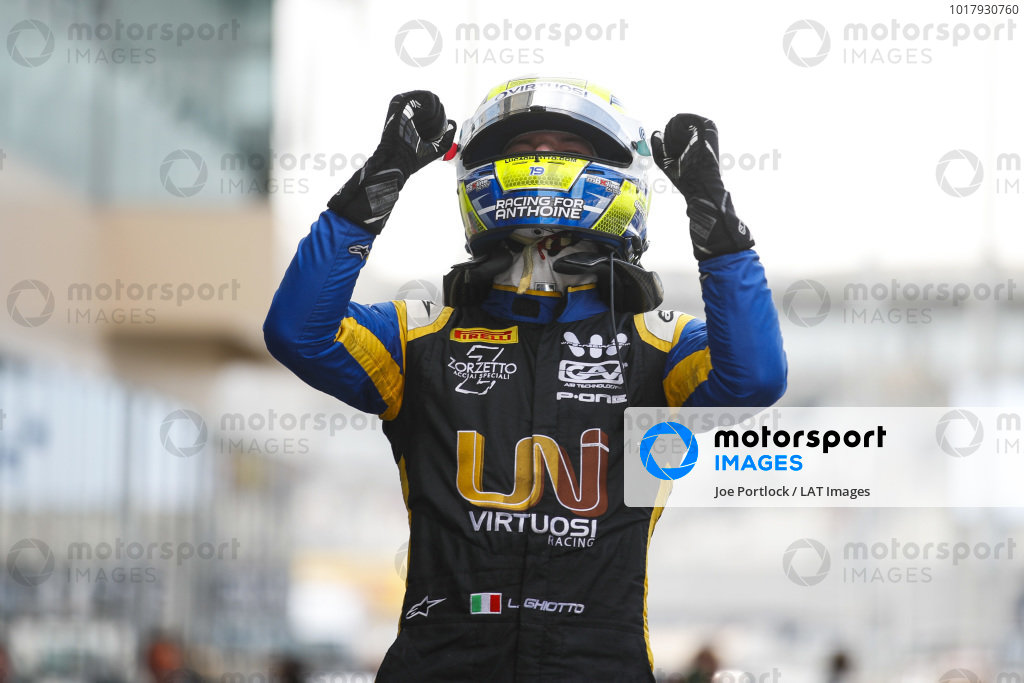 Luca Ghiotto (ITA, UNI VIRTUOSI), celebrates victory in parc ferme