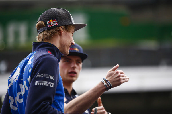 Brendon Hartley, Toro Rosso, and Max Verstappen, Red Bull Racing.