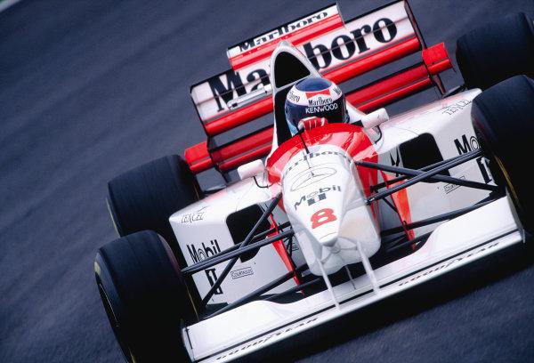 1995 Brazilian Grand Prix. Interlagos, Sao Paulo, Brazil.  24-26 March 1995. Mika Hakkinen (McLaren MP4/10 Mercedes) 4th position. Ref-95 BRA 36. World Copyright - LAT Photographic