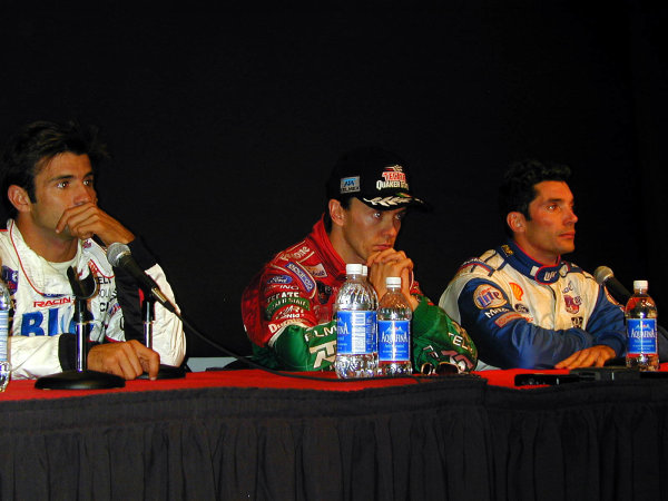 1999 CART California 500, California Speedway 31/10/99Fittipaldi, Fernandez and Papis at the press conference-1999, Michael L. Levitt / USALAT PHOTOGRAPHIC