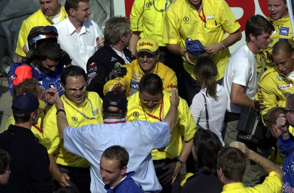2002 DTM Championship Norisring, Germany. 29th - 30th June 2002. Laurent Aiello celebrates his race win with the Abt Audi team.World Copyright: Andre Irlmeier/LAT Photographic