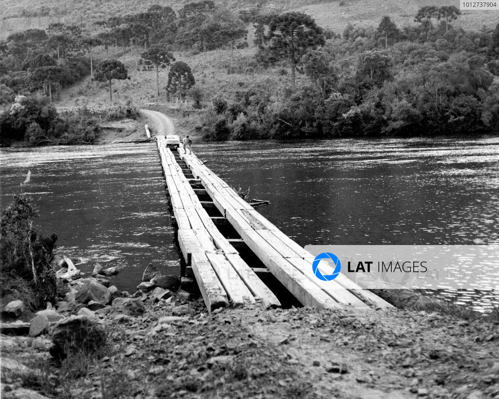 1970 World Cup Rally. London to Mexico. 19th April - 27th May 1970. On a recent recce of parts of the proposed World Cup Rally route, Roger Clark, Ford's leading rally driver came face to face with this awe-inspiring obstacle. World Copyright: LAT Photographic