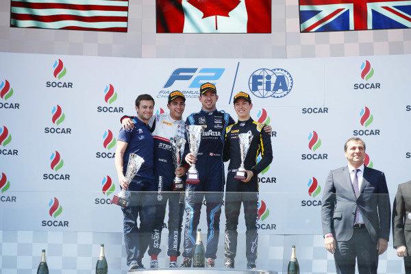 Nicholas Latifi (CAN, DAMS), celebrates on the podium with Juan Manuel Correa (USA, SAUBER JUNIOR TEAM BY CHAROUZ), and Jack Aitken (GBR, CAMPOS RACING)