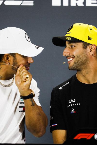Lewis Hamilton, Mercedes AMG F1 and Daniel Ricciardo, Renault F1 Team in Press Conference