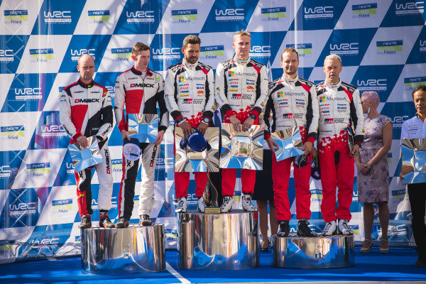 Podium (L to R): Second placed Elfyn Evans (GBR) / Daniel Barritt (GBR), M-Sport World Rally Team WRC, rally winners Esapekka Lappi (FIN) / Janne Ferm (FIN), Toyota Gazoo Racing WRT WRC and third placed Juho Hanninen (FIN) / Kaj Lindstrom (FIN), Toyota Gazoo Racing WRC celebrate on the podium with the trophies at World Rally Championship, Rd9, Rally Finland, Day Three, Jyvaskyla, Finland, 30 July 2017.