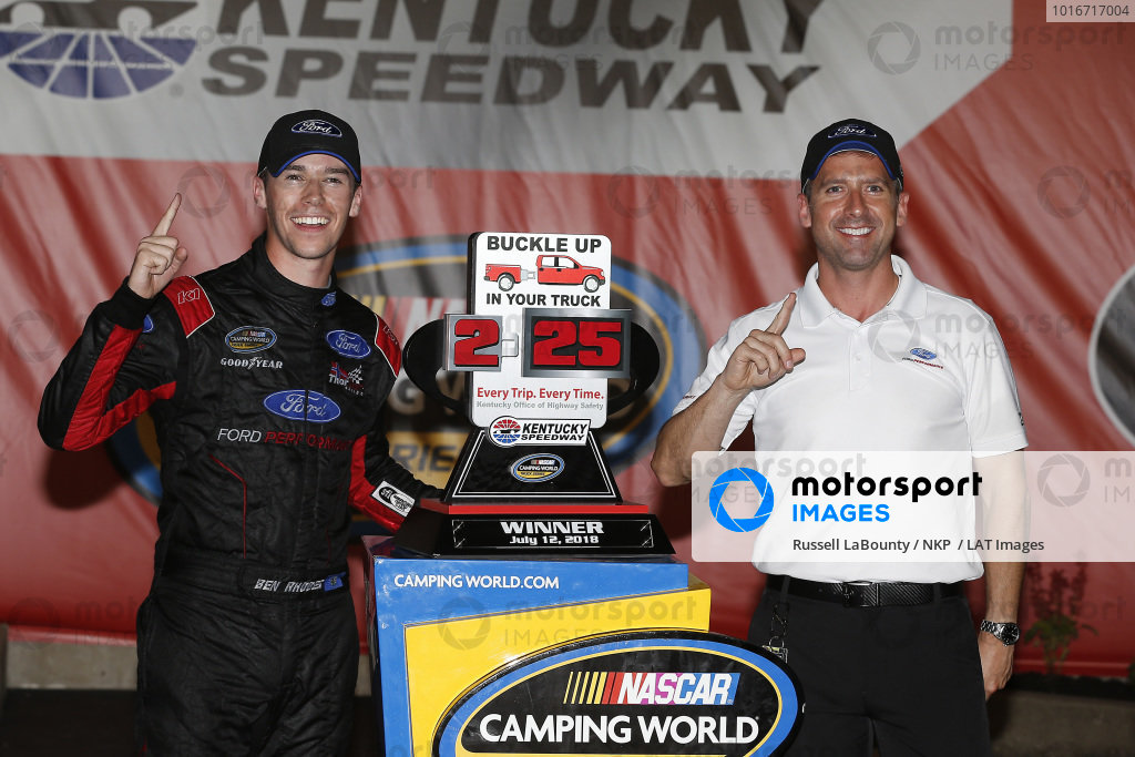 #41: Ben Rhodes, ThorSport Racing, Ford F-150 Alpha Energy Solutions celebrates in victory lane
