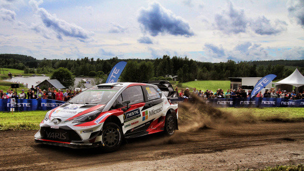 Juho Hanninen (FIN) / Kaj Lindstrom (FIN), Toyota Gazoo Racing Toyota Yaris WRC at World Rally Championship, Rd9, Rally Finland, Day Two, Jyvaskyla, Finland, 29 July 2017.