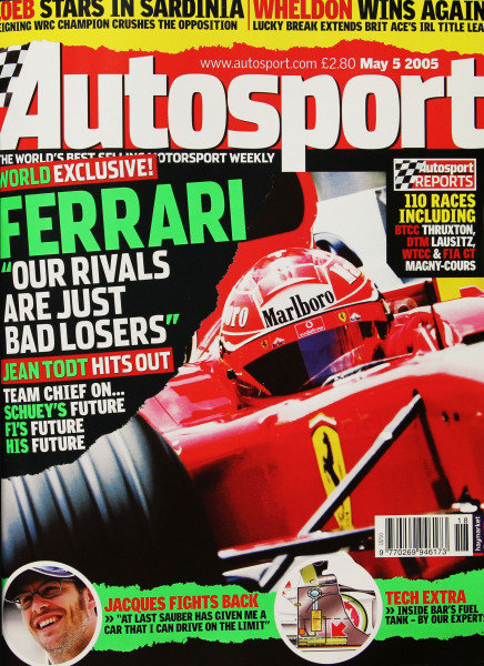Cover of Autosport magazine, 5th May 2005