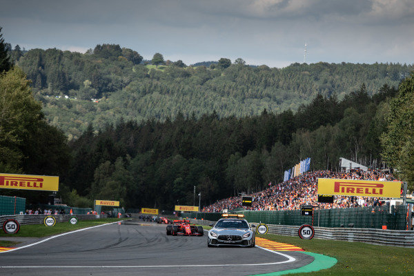 The Safety Car leads Charles Leclerc, Ferrari SF90