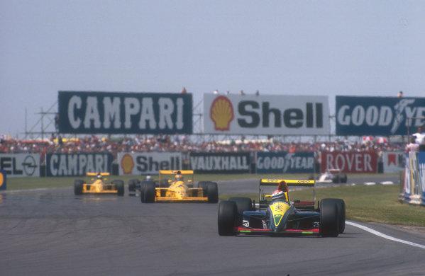 1990 British Grand Prix.Silverstone, England.13-15 July 1990.Eric Bernard (Lola 90 Lamborghini) 4th position.Ref-90 GB 24.World Copyright - LAT Photographic