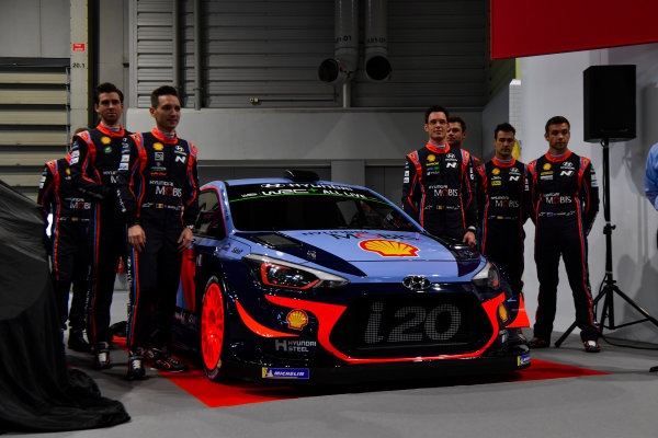 Autosport International Exhibition. National Exhibition Centre, Birmingham, UK. Thursday 11th January 2017. The Hyundai team, including Thierry Neuville, Andreas Mikkelsen, Dani Sordo, Hayden Paddon and team manager Michel Nandan, unveil their 2018 WRC challenger.World Copyright: Mark Sutton/Sutton Images/LAT Images Ref: DSC_7302