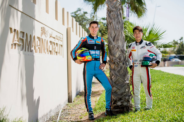 2017 GP3 Series Round 8.  Yas Marina Circuit, Abu Dhabi, United Arab Emirates. Thursday 23 November 2017. Nirei Fukuzumi (JPN, ART Grand Prix), Alessio Lorandi (ITA, Jenzer Motorsport). Photo: Zak Mauger/GP3 Series Media Service. ref: Digital Image _X0W7424