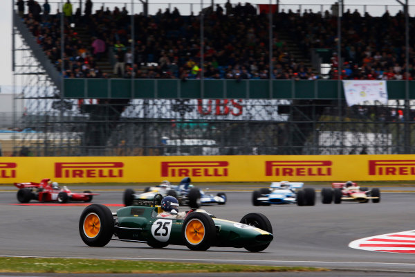 Silverstone, Northamptonshire, England. Saturday 5 July 2014. Jackie Oliver, Lotus 33, in the Legends parade. World Copyright: Charles Coates/LAT Photographic. ref: Digital Image _N7T8409
