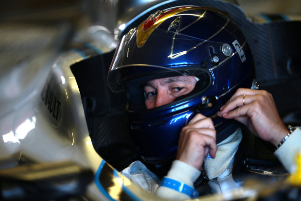 FIA Formula E Test Day, Donington Park, UK.  19th August 2014. Heinz-Harald Frentzen. Photo: Malcolm Griffiths/FIA Formula E ref: Digital Image F80P9680