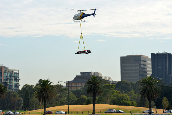 Red Bull Racing F1 car arrives by helicopter. 2014 Formula 1 Rolex Australian Grand Prix Media Launch, Carousel, Albert Park, Melbourne, Australia, 3 February 2014.