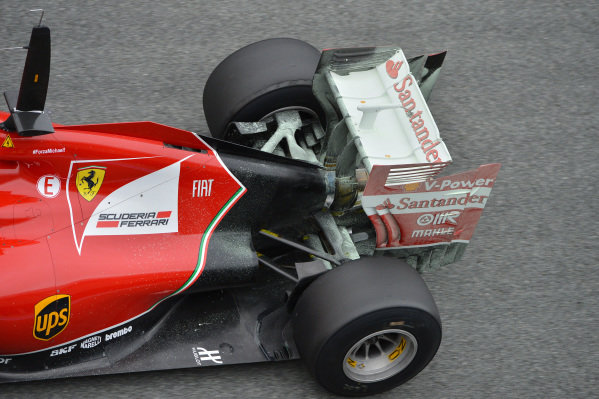 Ferrari F14 T rear wing and aero paint. Formula One Testing, Jerez, Spain, Day One, Tuesday 28 January 2014.