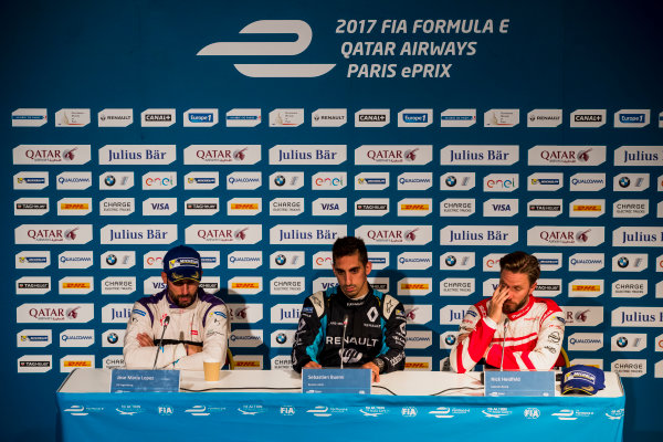 2016/2017 FIA Formula E Championship. Qatar Airways Paris ePrix, France. Saturday 20 May 2017. Jose Maria Lopez (ARG), DS Virgin Racing, Spark-Citroen, Virgin DSV-02Sebastien Buemi (SUI), Renault e.Dams, Spark-Renault, Renault Z.E 16, and Nick Heidfeld (GER), Mahindra Racing, Spark-Mahindra, Mahindra M3ELECTRO, in the press conference. Photo: Zak Mauger/LAT/Formula E ref: Digital Image _56I4144