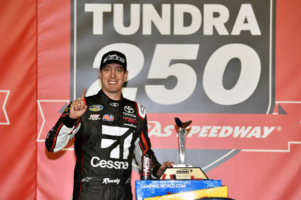 NASCAR Camping World Truck Series Toyota Tundra 250 Kansas Speedway, Kansas City, KS USA Friday 12 May 2017 Kyle Busch, Cessna Toyota Tundra celebrates his win in Victory Lane World Copyright: Nigel Kinrade LAT Images ref: Digital Image 17KAN1nk07203